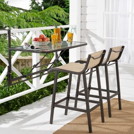 Mainstays 3 Piece Outdoor Bar Set W Fold Down Gl Top Table Expired