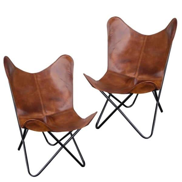 Set of 2 AmeriHome Butterfly Chairs w/ Natural Leather Cover from $138.40 + Free Shipping