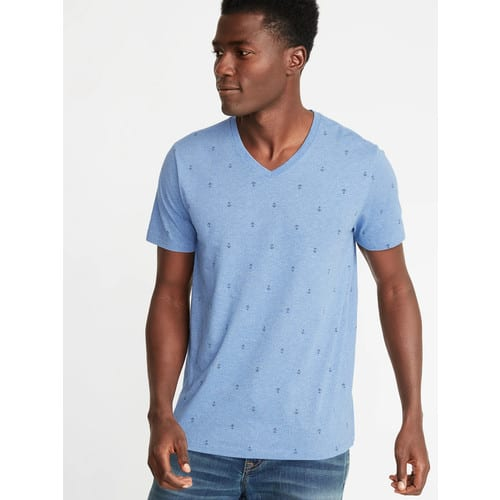 Old Navy Men's Softest Washed Tees: Anchor-Print V-Neck, Banana-Print $3.60, Striped V-Neck $4.20 + FS on $50+