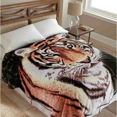 "90"" x 90"" Shavel Home Fleece Coverlets: Tiger $28.79, Horse, Floral Stripe $31.19 & More + Free Store Pickup at Home Depot"