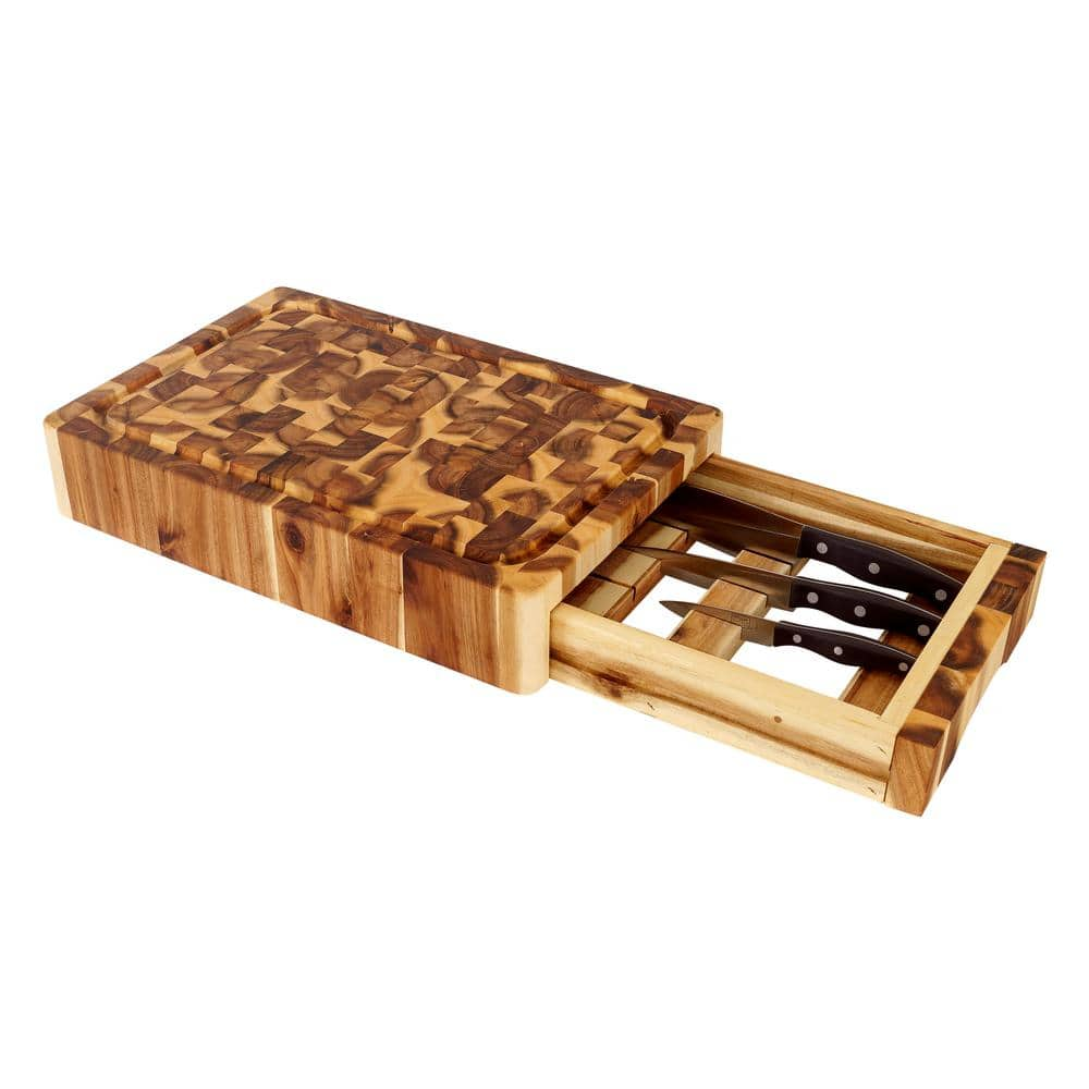 """Chris and Chris Acadia Wood Cutting Boards: 11.74"""" x 17.75"""" x 3.25"""" w/ Knife Drawer $79.20, 15"""" x 20"""" x 2.25"""" $101.59 and More + Free Shipping"""