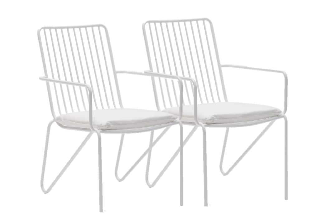Set of 2 MoDRN Industrial Wrought Iron Stacking Chairs in White $50 + Free Shipping