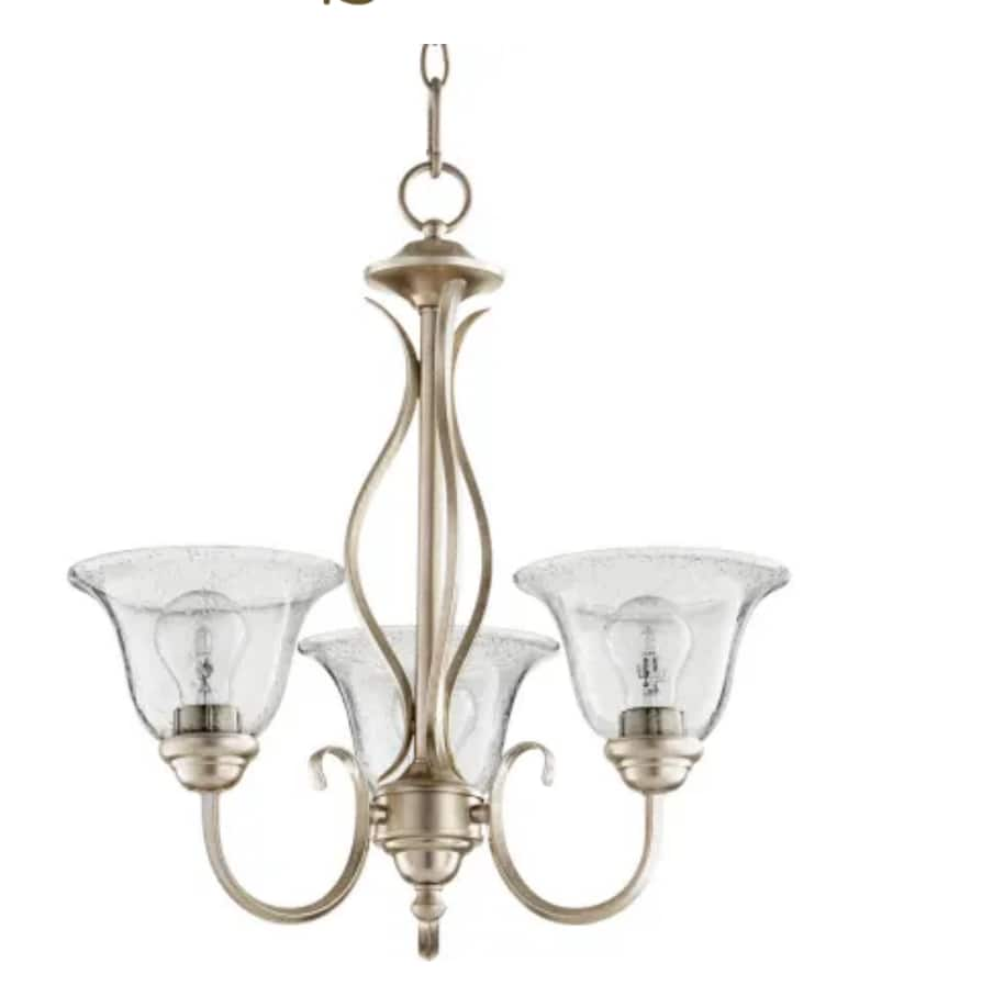 """Quorum 3-Light 20"""" Wide Spencer Chandelier in Aged Silver Leaf / Clear Seeded $19.31 + Free Shipping"""