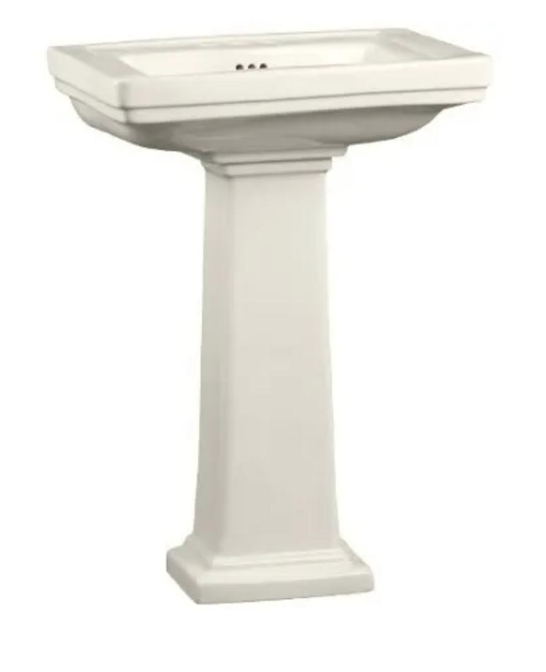 "Mirabelle 24-3/8"" Key West Porcelain Bathroom Sink & 28-3/4"" H Pedestal in Biscuit $100.23 + Free Shipping"