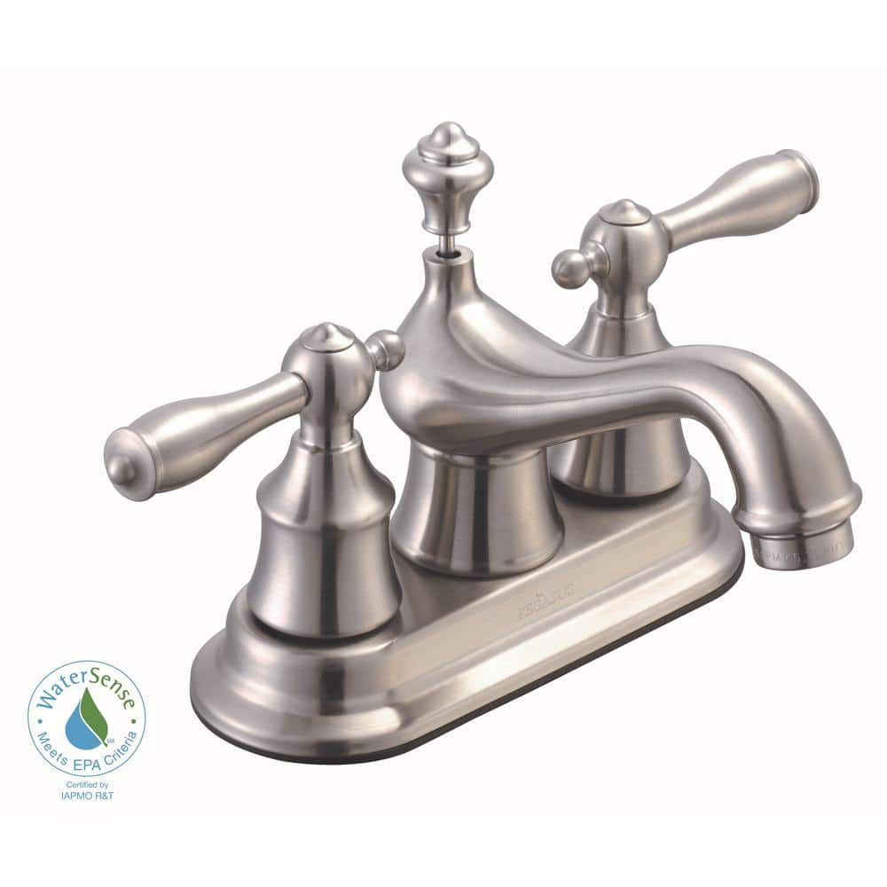 Glacier Bay Estates 2-Handle Low-Arc Bathroom Faucet in Brushed Nickel, 4-inch Centerset $43.60 at Home Depot + Free Store Pickup