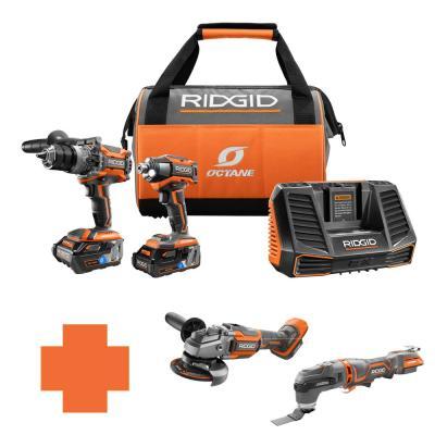 RIDGID 18-Volt OCTANE Lithium-Ion Cordless Brushless Combo Kit & Choice of 2 Free Select Tools $349 + Free Shipping