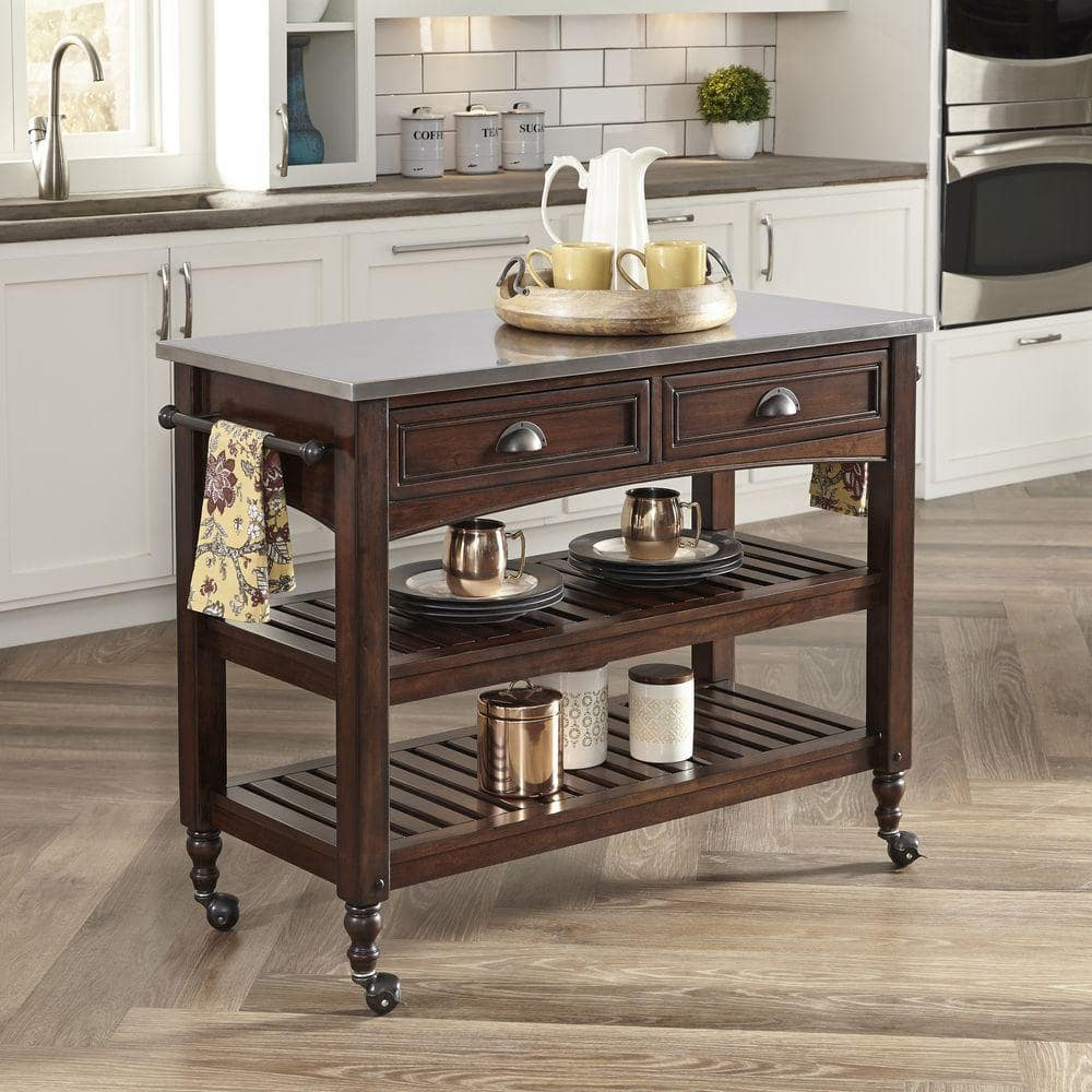 Home Styles Country Comfort Kitchen Cart w/ Stainless Steel ...