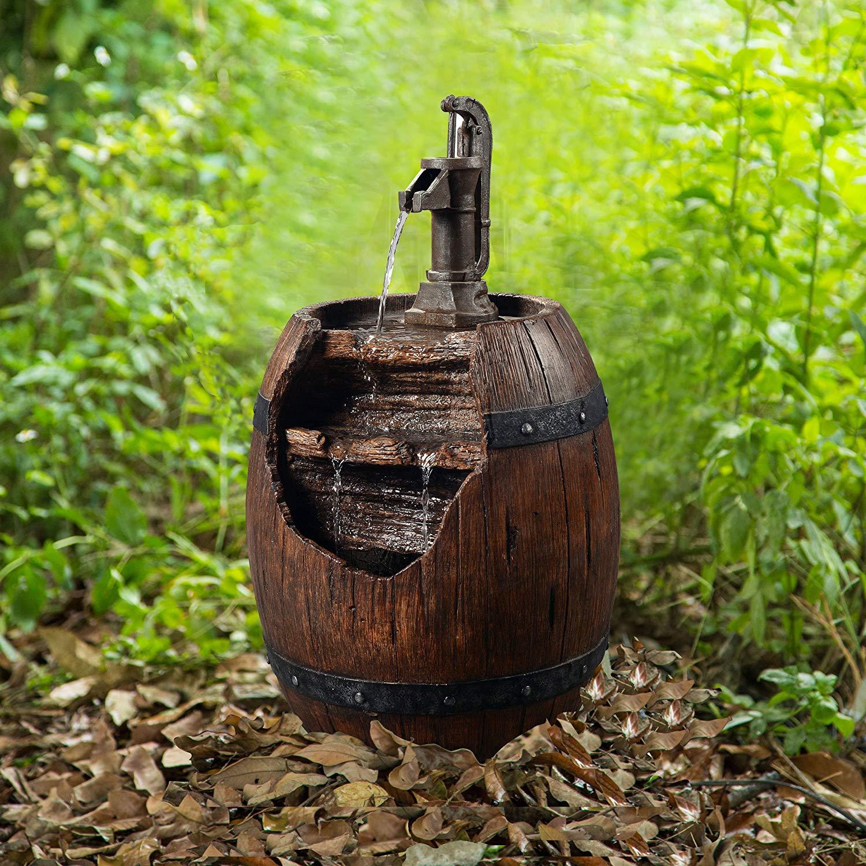 Peaktop Outdoor 33-inch Freestanding Water Fountain - Vintage Pump & Barrel $94.79 +  Free Shipping