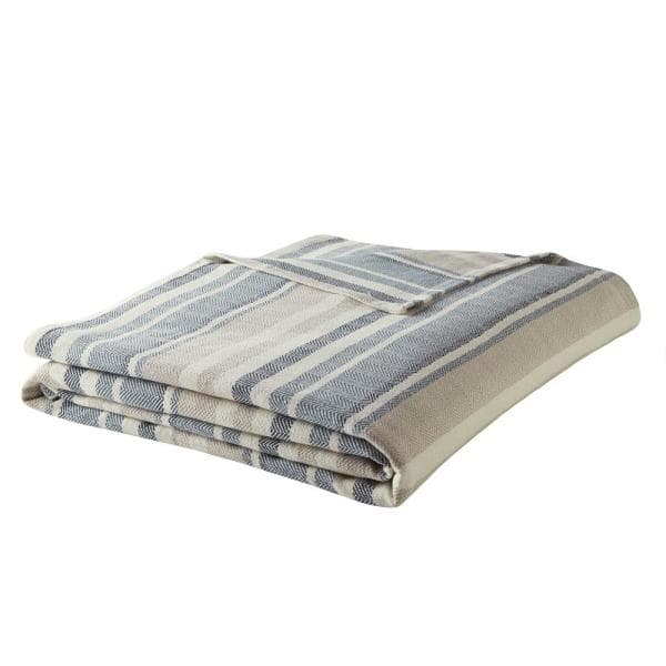 Eddie Bauer 100% Cotton Herringbone Blanket, Blue Stripe: Twin $22.39, Queen $26.39, King $36 + Free Store Pickup at Home Depot