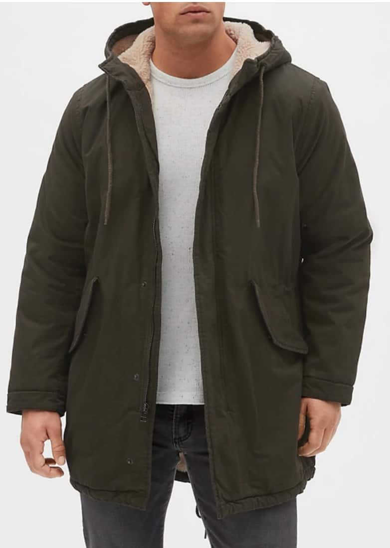 Gap Factory: Men's Sherpa-Lined Fishtail Parka $31.87   add filler From $39.65 shipped