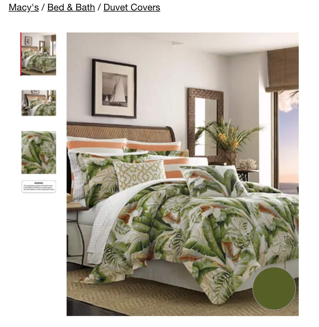 3-Pece Tommy Bahama Cotton Duvet Sets: Palmier Green in Full/Queen $75.03, King $93.60 & More + Free Shipping