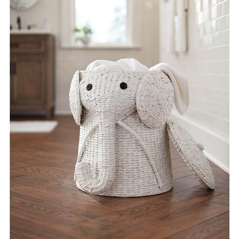 Home Decorators Collection Elephant Hand-Woven Wicker Laundry Hampers in White from $48.28 + Free Shipping