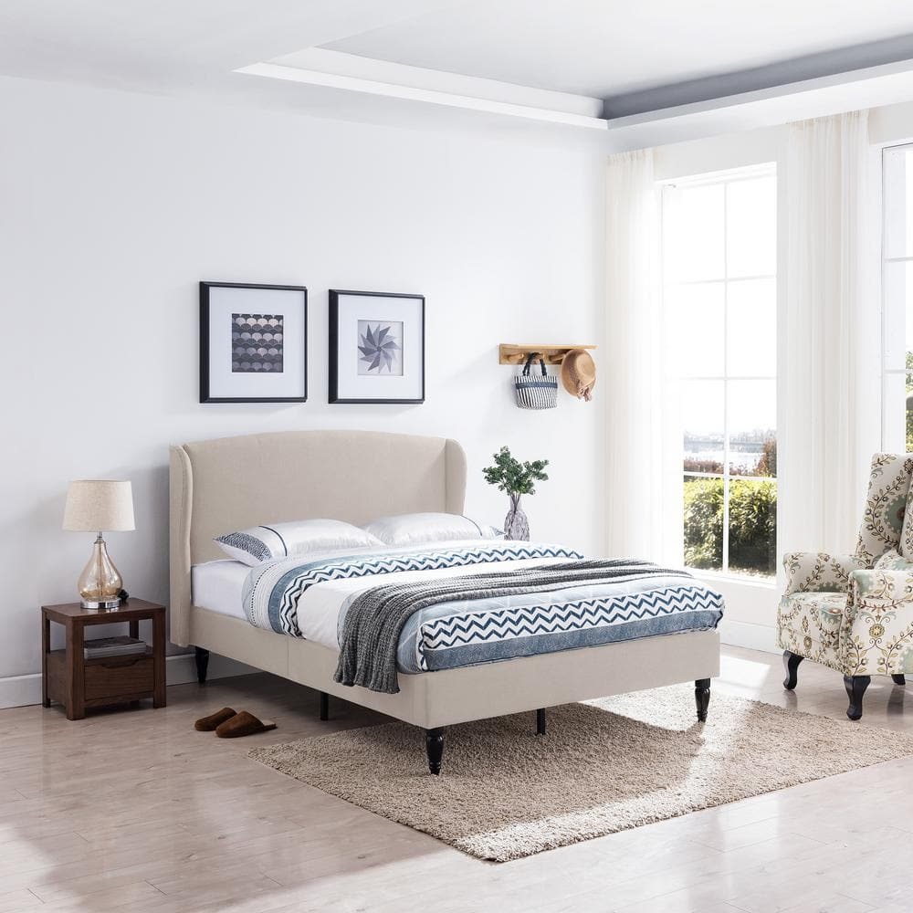 Noble House Upholstered Queen Bed Frames: Westbury Traditional Wingback from $151.16 at Home Depot +  Free Store Pickup