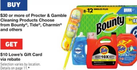 Lowe's: Buy $30+ Select Procter & Gamble Cleaning Products, Get $10 Lowe's Gift Card via Rebate