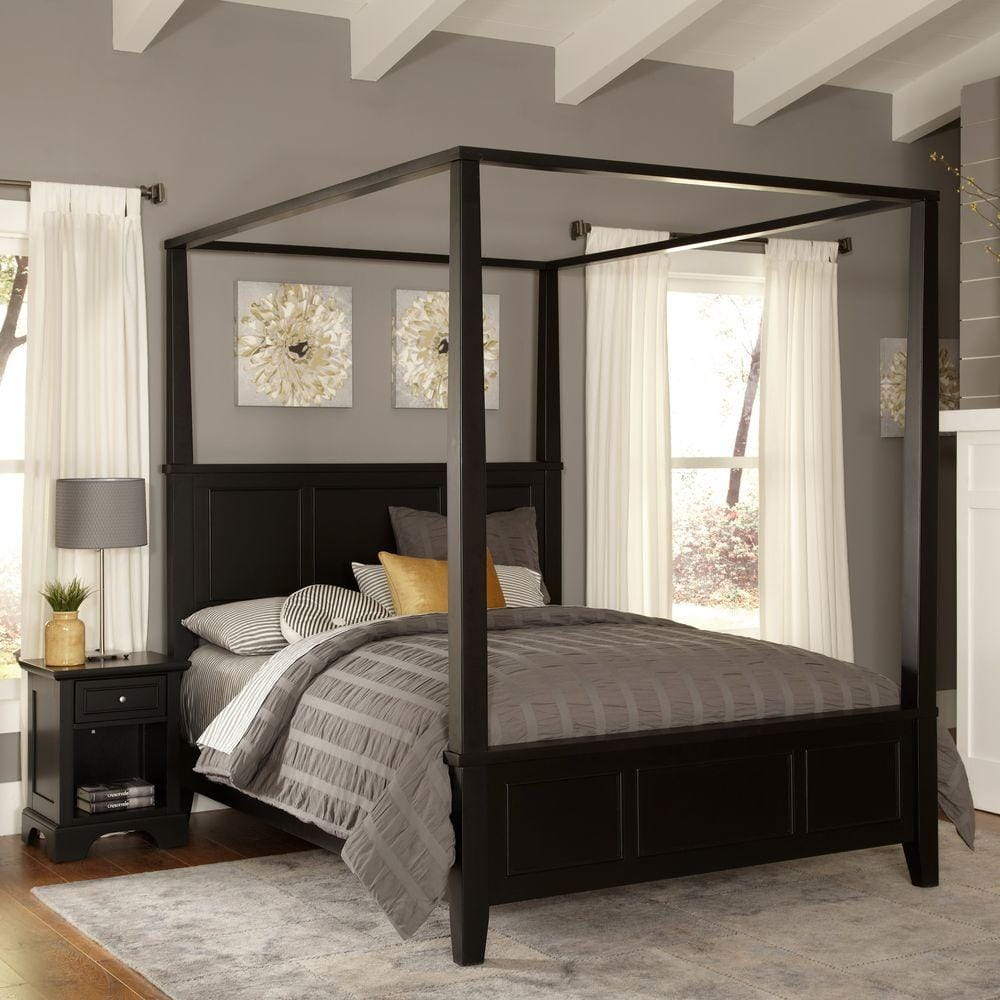 Home Styles Bedford Queen Canopy Bed (Black) $353.10 at Home Depot + Free Store Pickup