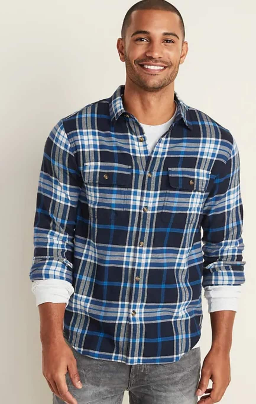 Old Navy: Men's Regular-Fit Built-In Flex Plaid Flannel Shirts $9 + Free Store Pickup