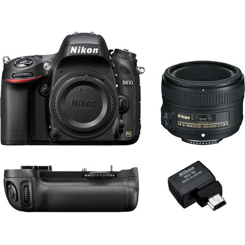 Nikon D610 DSLR Camera w/ 50mm f/1.8 Lens Kit + Nikon Deluxe DLSR Bag, 64GB SanDisk Extreme PRO UHS-I SDXC Memory Card & Skylum Luminar 4 (Download) $896.95 +  FS