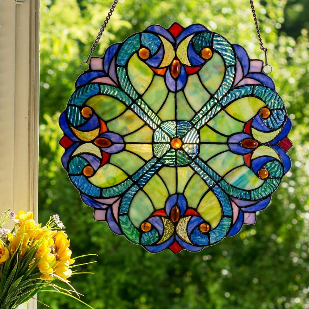River of Goods Stained Glass Window Panels: Mini Halston $35.29, Multi-Colored Hummingbird Floral $46.86 at Home Depot  & More + Free Store Pickup