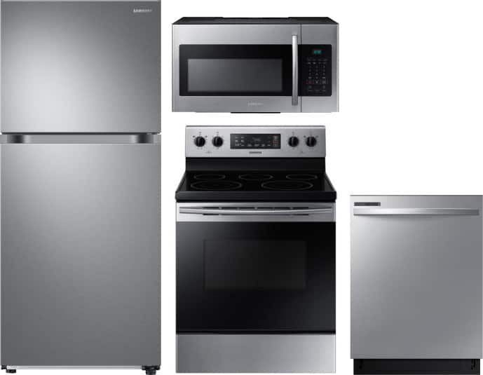 "29"" Samsung 17.Cu. Ft. Top-Freezer Refrigerator + 30"" Electric Range + 24"" Integrated Dishwasher + 1.6 cu. ft. Over-the-Range Microwave Oven, Stainless Steel $1480 AR + FS"