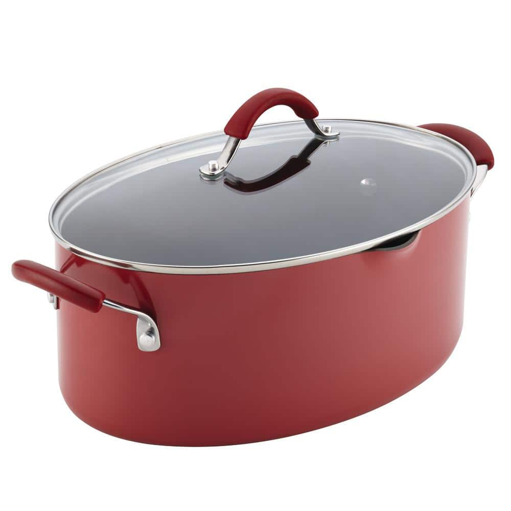 Rachel Ray Cucina 8 Qt. Aluminum Stock Pot w/ Lid, Cranberry Red $27 at Home Depot + Free Store Pickup