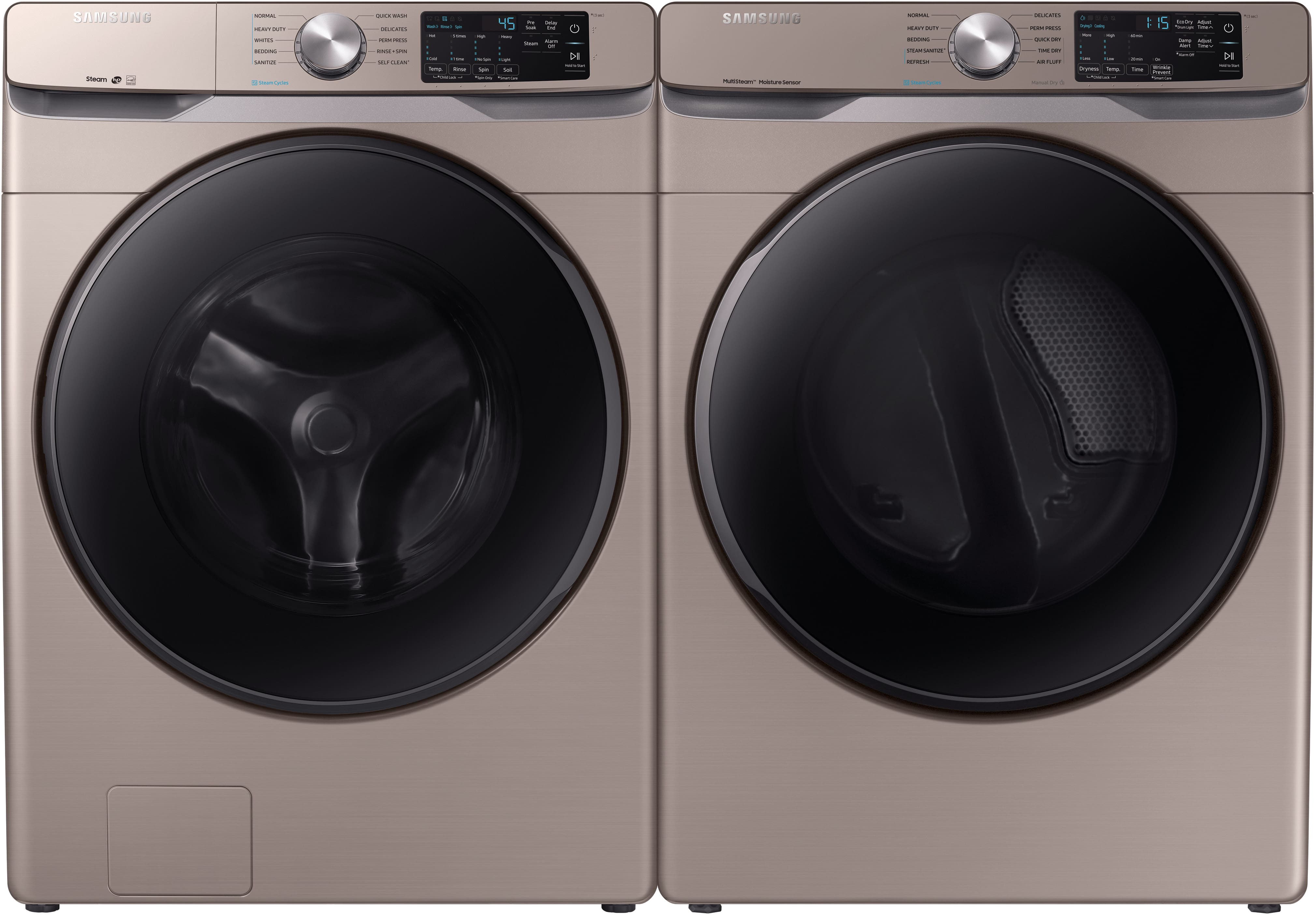 Samsung 4.5 cu. ft. High-Efficiency Front Load Washer &  7.5 cu. ft. Electric Dryer w/ Steam in Champagne $1090 AR + Free Shipping