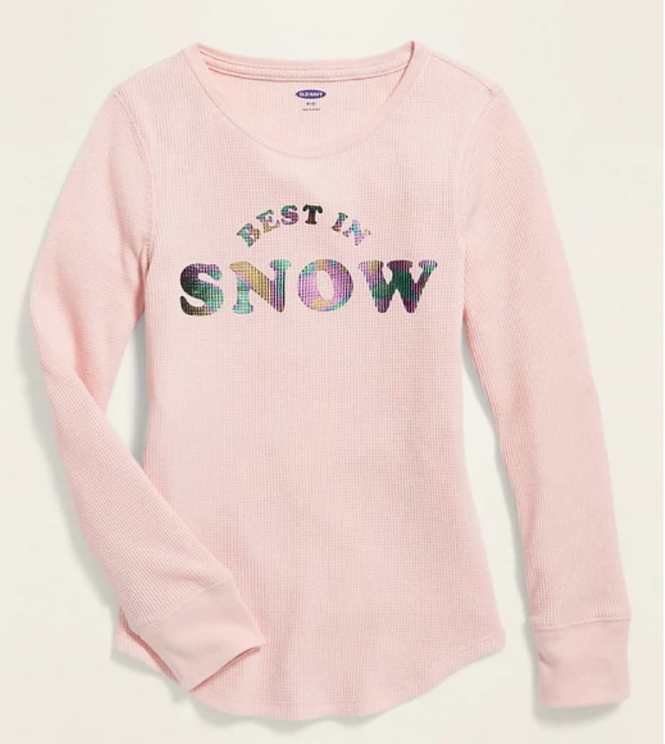 Old Navy: Girls' Thermal-Knit L/S Thermal Knit Tee $4, Toddler & Baby PJ Sets $6.40 + Free Store Pickup