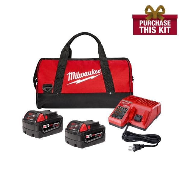 Milwaukee M18 Starter Kit w/ 2 x 4.0Ah Batteries, Charger & Bag + Select Bare Tool or Battery $199 at Home Depot