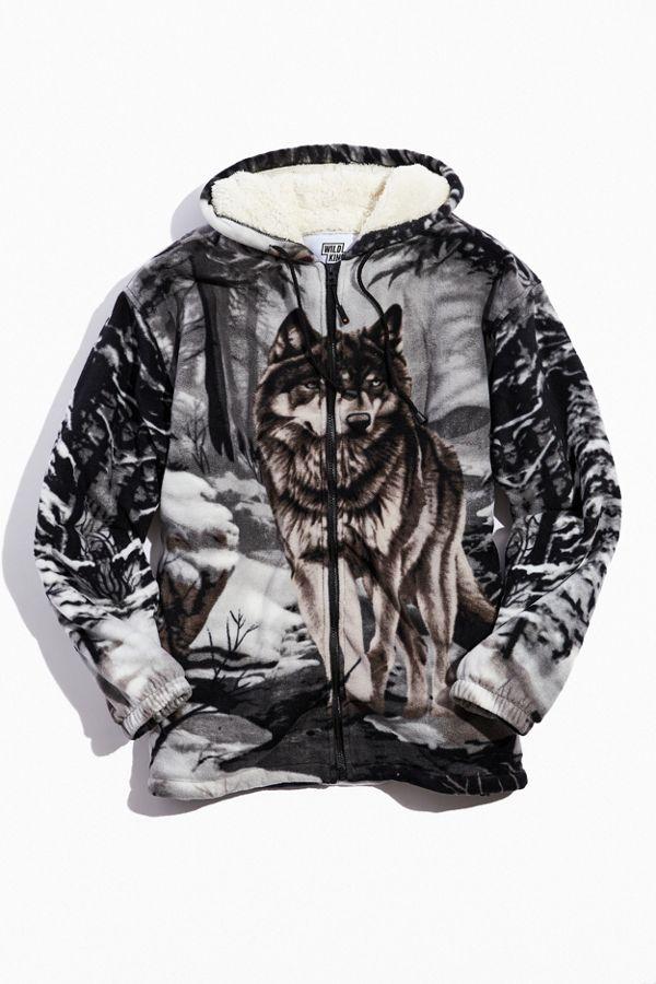 Men's WILDKIND Sherpa Full-Zip Hooded Jacket (Wolf or Deer Prints) $20, FILA Sherpa Half-Zip $20 & More at Urban Outfitters + Free Store Pickup