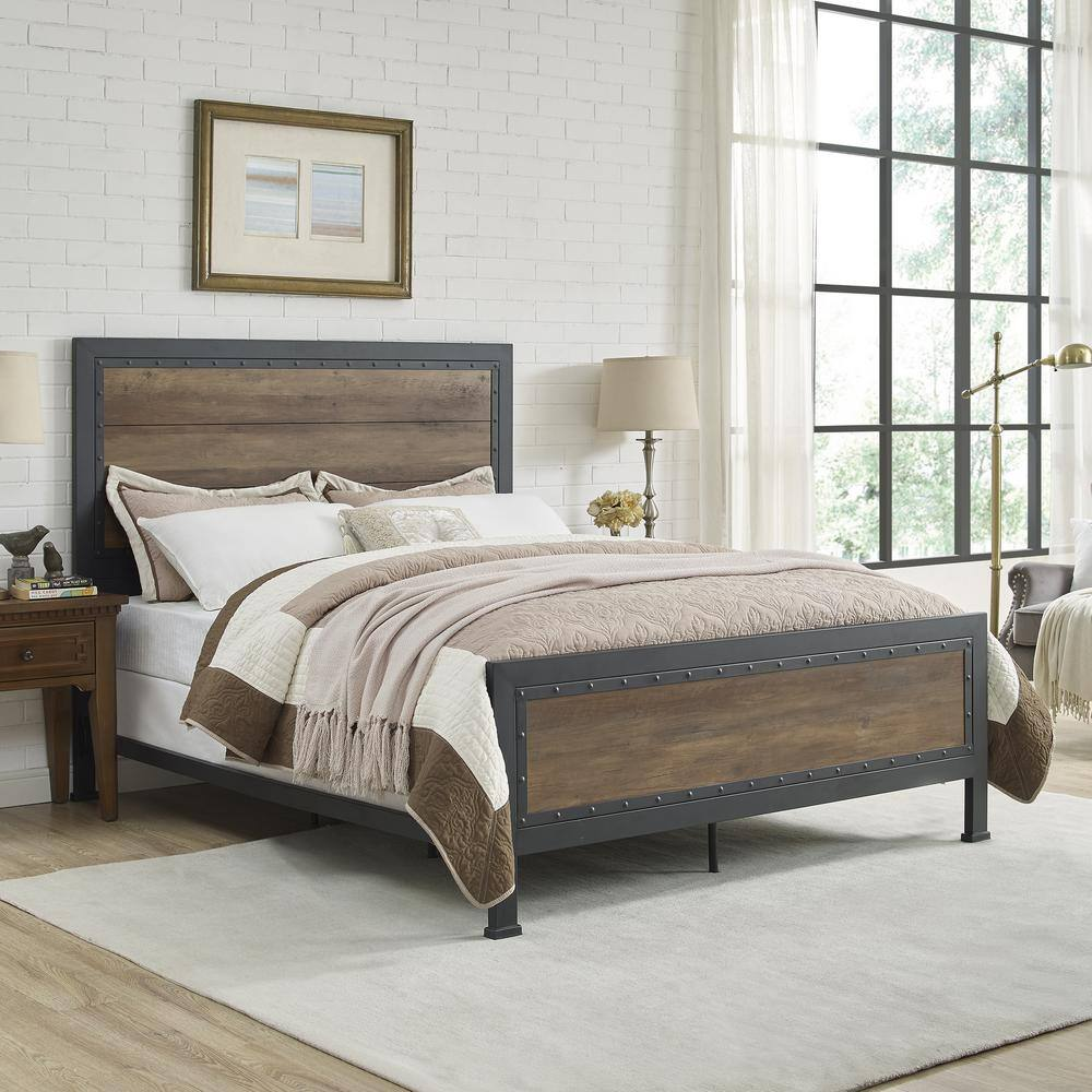 Walker Edison Rustic Oak Industrial Wood & Metal Bed, Queen $275 at Home Depot + Free Store Pickup