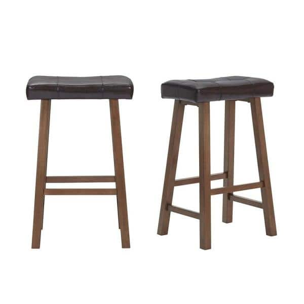 "Set of 2 StyleWell Walnut Wood Upholstered Bar Stools, 18.75"" W x 30"" H (Brown or Beige) $59.40 + Free Shipping"