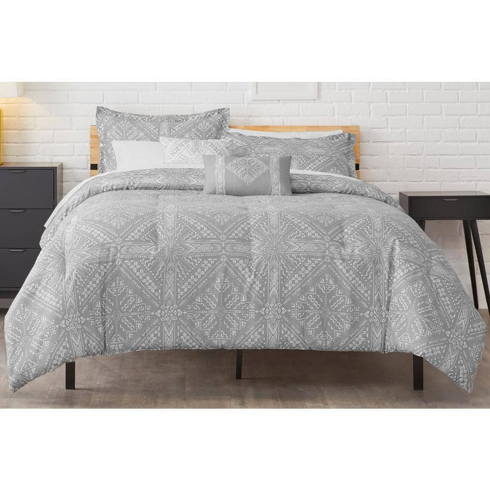 StyleWell Torsten Stone Gray Reversible Diamond Comforter Set: 4-Piece Twin $20.79, 5-Piece Full/Queen $24, 5-Piece King $27.19 at Home Depot + Free Store Pickup