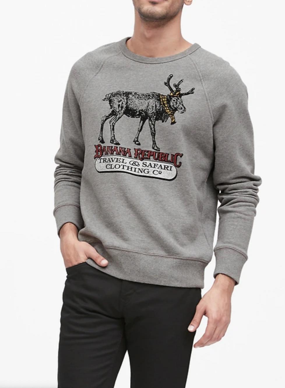 Banana Republic: Men's Reindeer Sweatshirt $16, Slim Elastic-Waist Pant $29.20 + FS on $20+