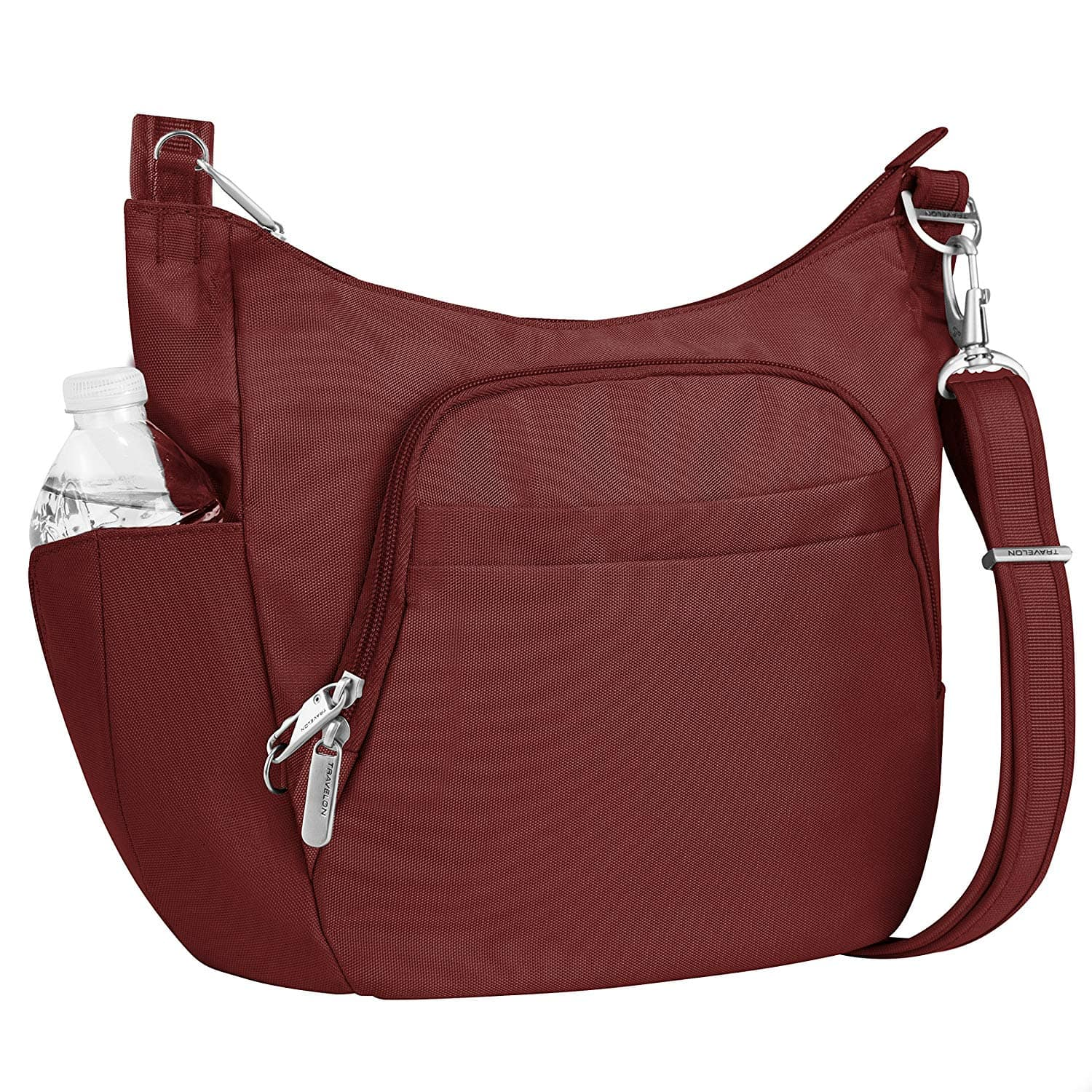 TravelOn Anti-Theft Poly Crossbody Bucket Tote Bag in Wine $36 at Home Depot/Amazon