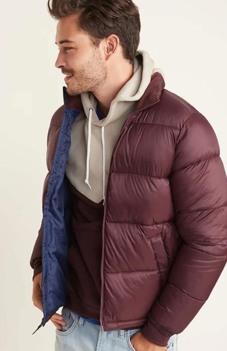 Old Navy Men's: Color-Blocked Tee $4.90, Frost-Free Puffer Jacket