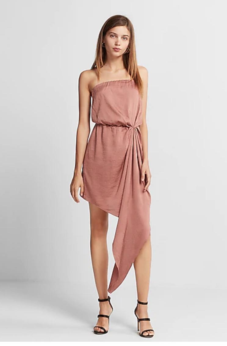 Express.com Clearance: Women's Strapless Asymmetrical Dress, High-Waisted Wrap Sash Tie Skort (Cobalt Blue) $9.97, Men's Shirts $15 & More + FS on orders $50+