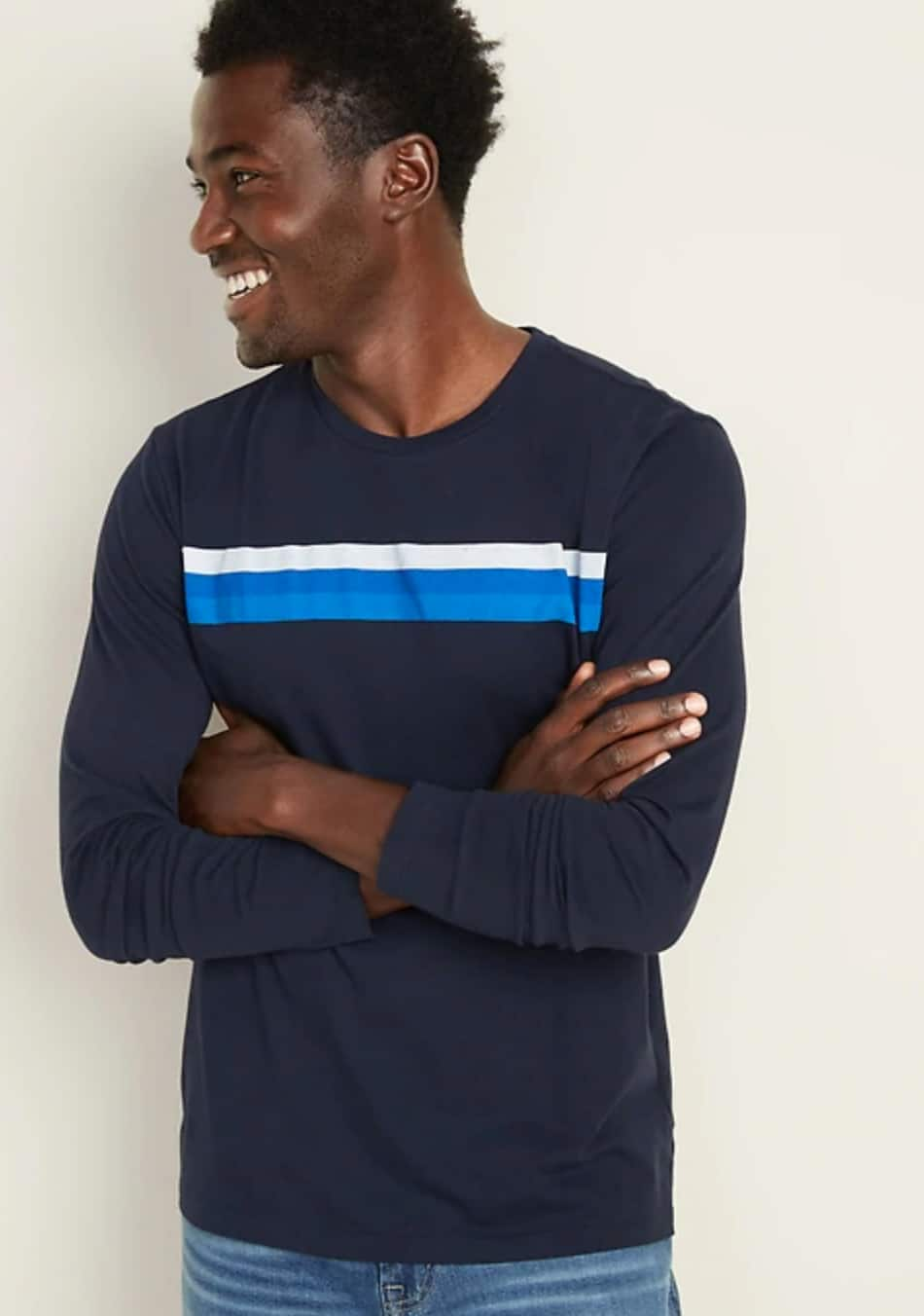 Old Navy: Men's Chest-Stripe Long-Sleeve Tee $4.18, Color-Blocked Thermal Henley (Oatmeal/Squash) $7, Sherpa Joggers $12.58, Camo Pullover Hoodie $14 + Free Store Pickup