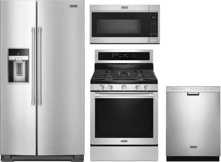 """4 Piece Maytag Kitchen Appliances Package, Stainless Steel with 24"""" Tall Tub Full Control Dishwasher (MDB4949SHZ) from $2794.50 + Free Shipping"""