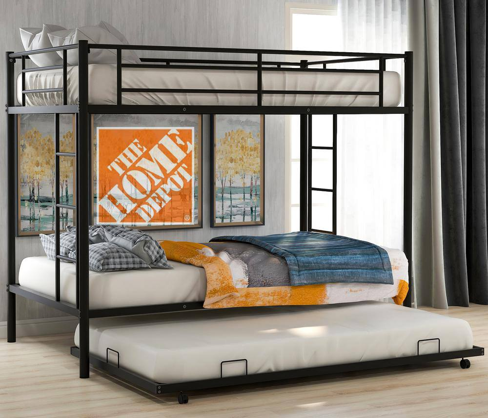 Harper & Bright Designs Twin Over Twin Metal Bunk Bed w/ Trundle $280 + Free Delivery