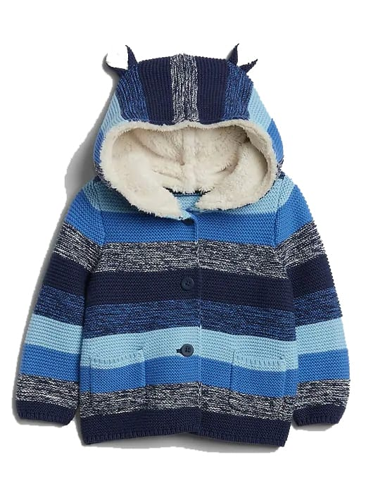 Gap Factory Baby Apparel: Baby Stripe Sweater w/ Sherpa-Lined Hood