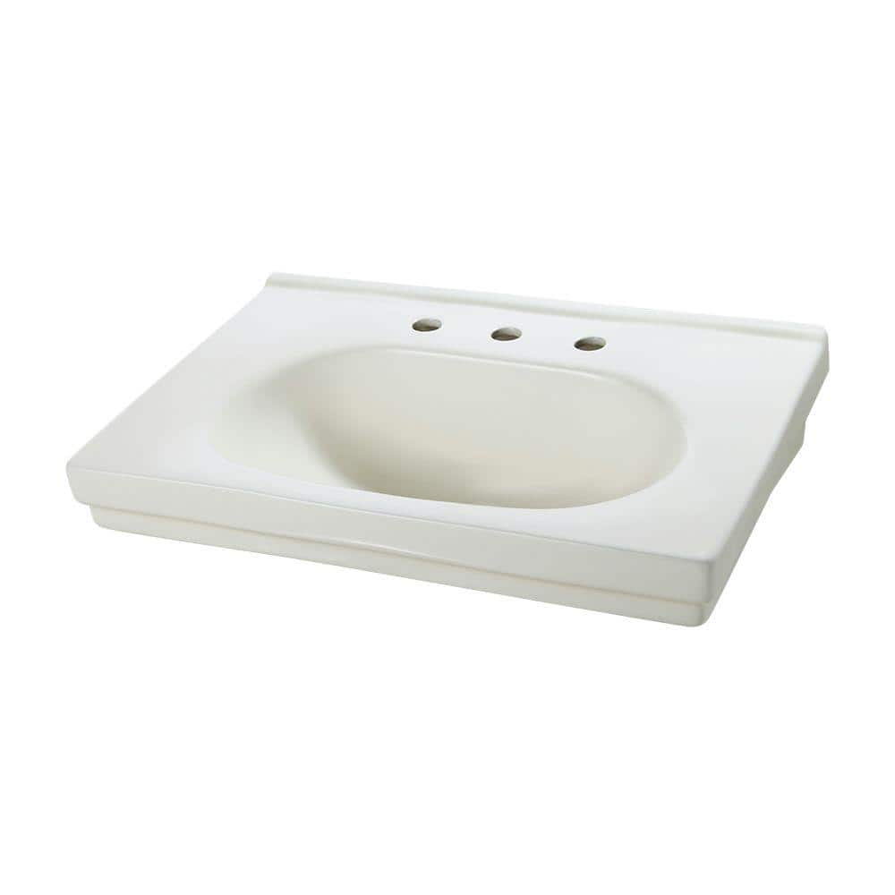 "Foremost Pedestal Sink & Skinny-Fit Base in Biscuit (9-5/8 in. Basin w/ 8 in. centers &  29.5"" H  Base) $67.20 + Free Shipping"