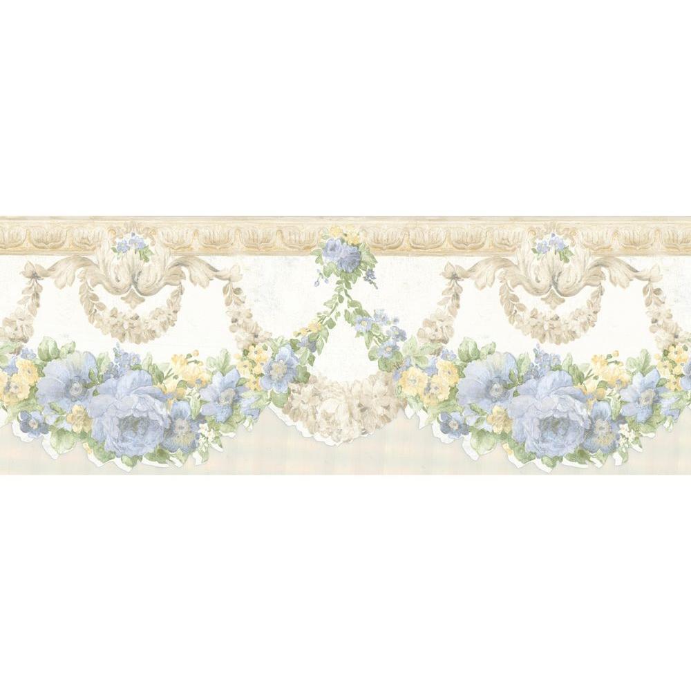 Brewster Marianne Light Blue Floral Wallpaper Border 10 Select