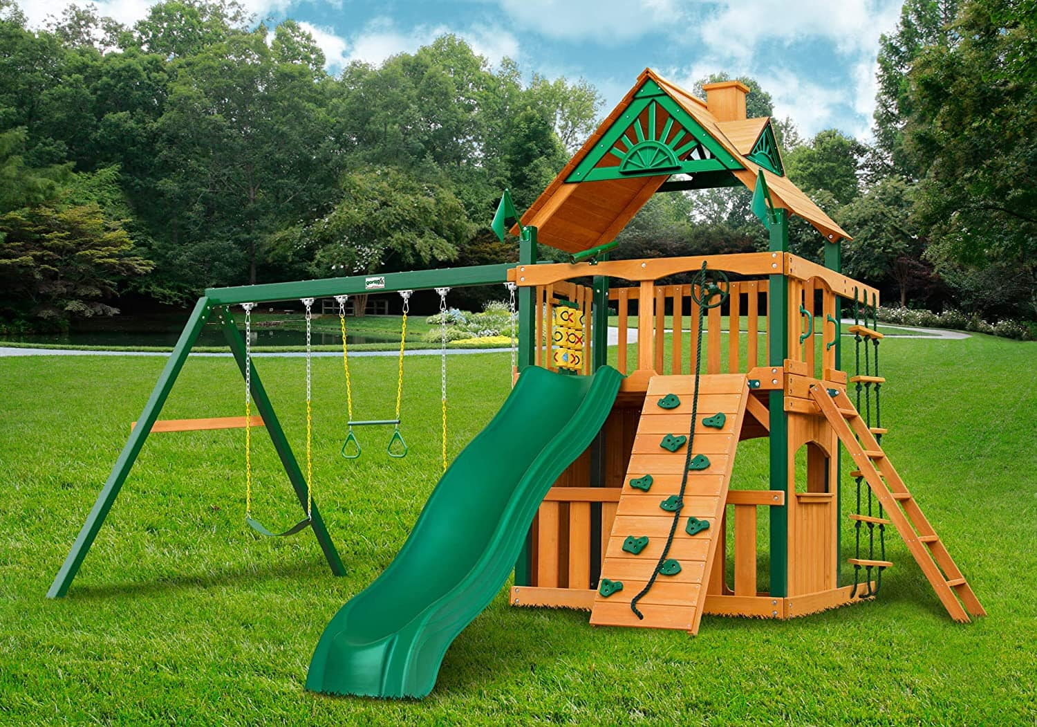 Gorilla Playsets Chateau Clubhouse Cedar Swing Set with Timber Shield Posts $2397 + Free Delivery