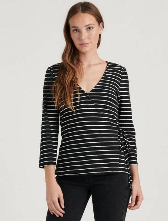 Lucky Brand: Women's Stripe Wrap Top $6.73, Madison Ruffle Jumpsuit $18, Open Quilted Jacket $23.40 & more + Free S/H