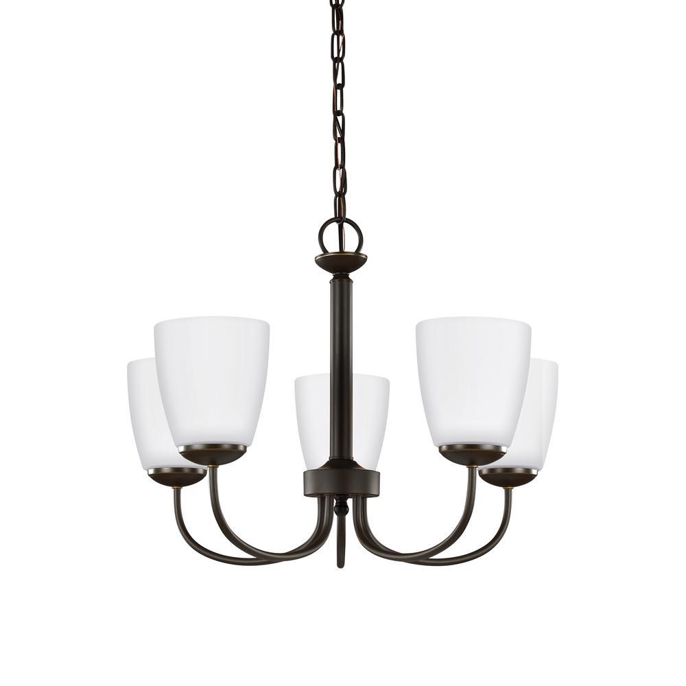 Sea Gull Bannock 5-Light Pendant, Heirloom Bronze $30, Montreal 4-Light Vanity Light, Burnt Sienna $40 & more + FS