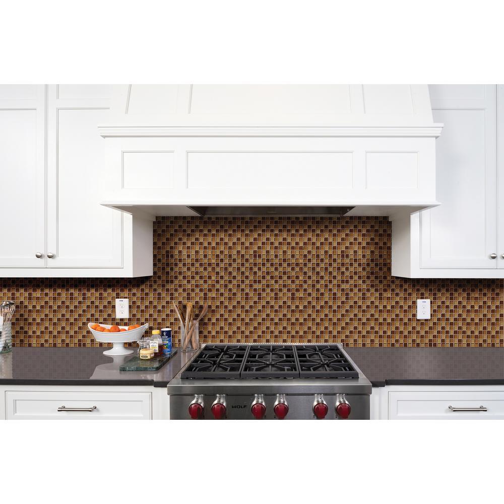 "MSI 12"" x 12"" x 8mm Brown Polished Glass Mosaic Tile (10 sq. ft./case) $27.90 | Merola Arista Jet 17-3/4"" x 17-3/4"" Ceramic Tile (382.5 sq ft) $303.5 at Home Depot"