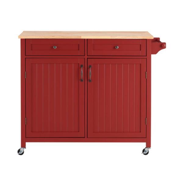 "StyleWell Bainport 2-Door Farmhouse Kitchen Cart w/ Rubberwood Butcher Block Top (44.25"" W x 18"" D x 36"" H) $149.40 + Free Shipping"