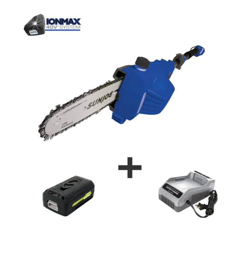 Sun Joe 40-Volt 8-inch Telescoping Pole Chain Saw (Blue) w/ 2.5 Ah Battery & Quick Charger $99 + Free S/H