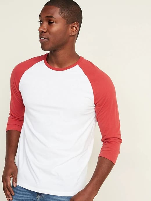 Old Navy: Men's Color-Blocked 3/4 Sleeve Baseball Tee $6.50, 3-Pack Moisture-Wicking Polos $19, Relaxed Slim Pull-On Cargo Pants $16 + Free Curbside Pickup