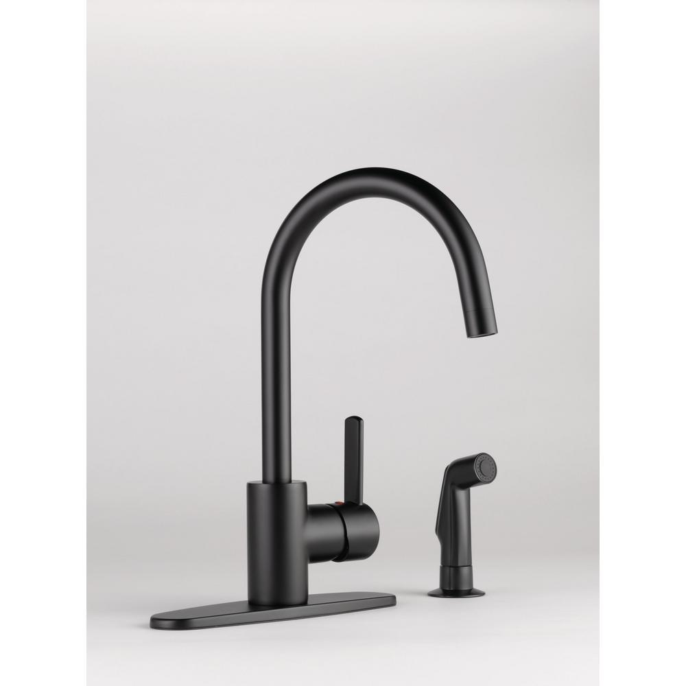 Peerless Apex Side Sprayer Faucet (Matte Black) $99, Pfister Lita Pull-Down, Glacier Bay Concealed Spray Head $119 & More at Home Depot