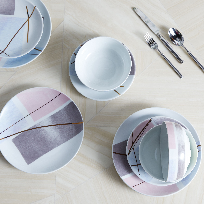 4-Pc MODRN Porcelain or Stoneware Salad Plates $8, 12-Pc Glam Geo Mauve Porcelain Dinnerware Set $23 + FS on $35+